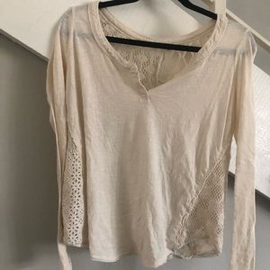 FREE PEOPLE boho cut out long sleeve T-shirt